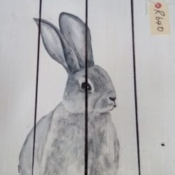 Bunny painting on pallet wood