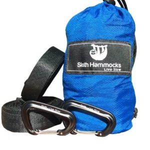 """Sloth """"Live Slow"""" Ripstop Para – Hammock with Carabiners and Tree Saving Straps"""