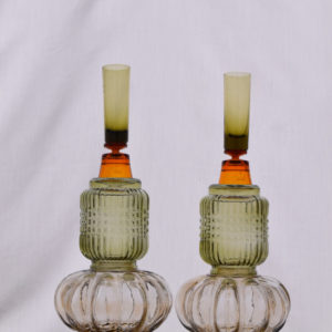 Green & Ocre Antique Italian Candle Holder (Set)