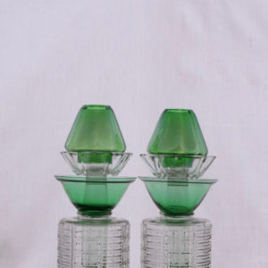 Green/Clear Candle Holder
