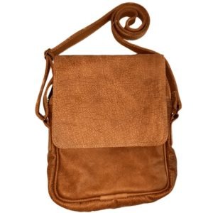 Men's leather carry bag with flap (Light brown)