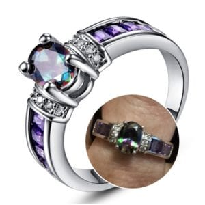 Ring with Oval Rainbow and Purple Stones