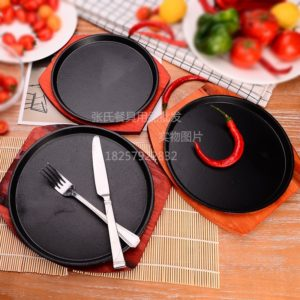 Sizzling round iron Steak Sizzling Grilled dish Fried meat Grilled iron dish Domestic restaurant with iron plate