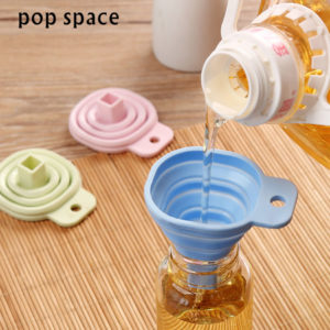 pop space High Quality Square Protable Mini Silicone Gel Foldable Style Funnel Hopper Kitchen Cooking Tools Accessories Gadget