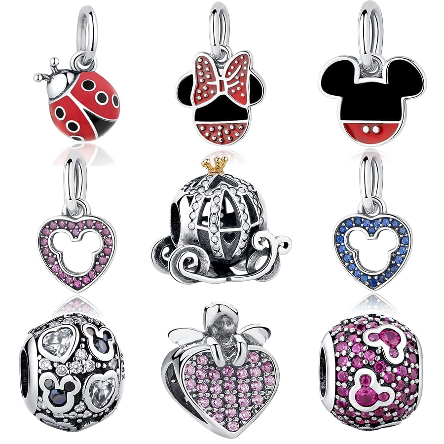 eda9a70d5 100% Authentic 925 Sterling Silver Mickey Minnie Clear CZ Charm ...