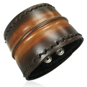 Brown Leather Center Grooved Snap Wristband Bracelet