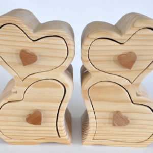 Heart shaped wood boxes with slide drawers- set of 2