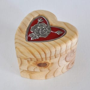 Wooden heart shaped box with pewter insert and heart shaped pencil holder