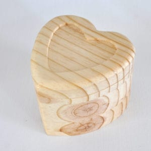 Wooden heart shaped box with no insert and heart shaped pencil holder