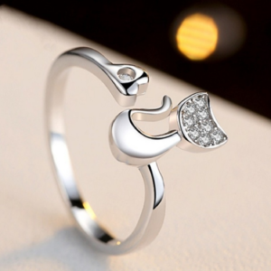 Adjustable Diamante Cat Ring (Sterling Silver)