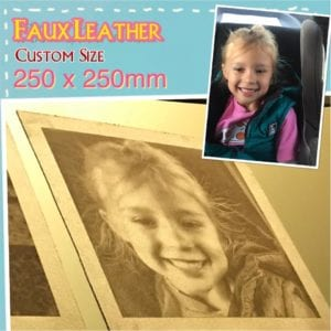 Custom Laser Engraving (Burnt) on Faux Leather size 250 x 250 mm