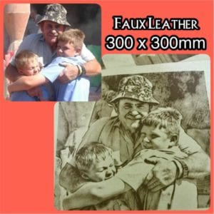 Custom Laser engraving (burnt) images on Faux Leather size 300 x 300 mm
