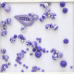 Soft purple and white polymer clay beads (B015)