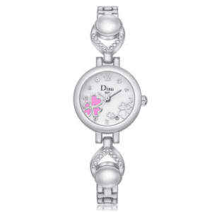 Silver & White Watch with Heart and Pearl Detail