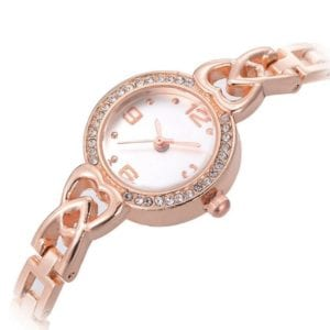 Rose Gold Watch with Heart Detail